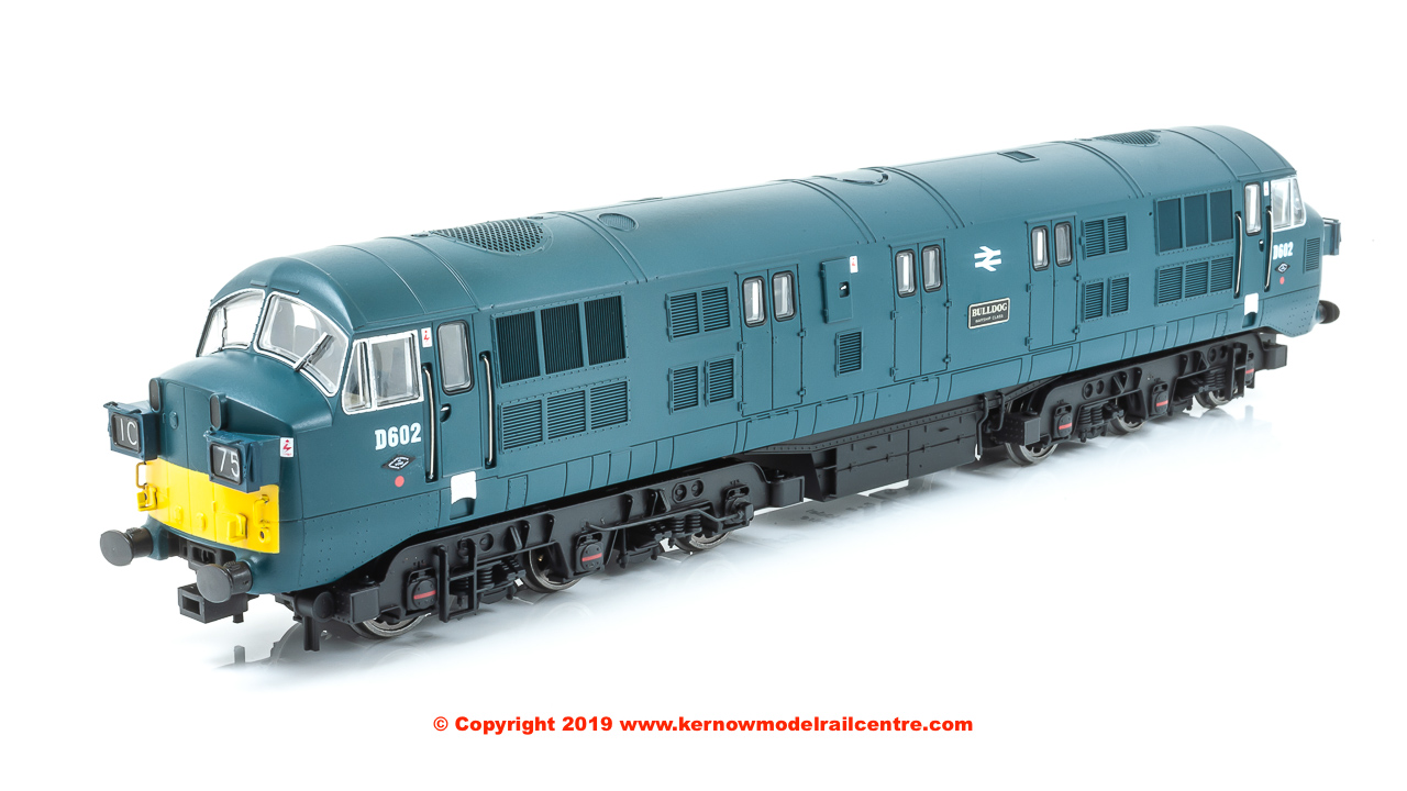 "K2605 Class 41 Warship Diesel Locomotive number D602 named ""Bulldog"" in BR Blue livery with small yellow ends, headcode boxes and later grilles"