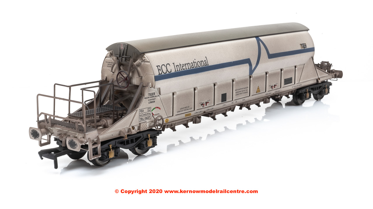 E87014 EFE Rail PBA TIGER China Clay Wagon number TRL 11627 in ECC International (white) livery and weathered finish