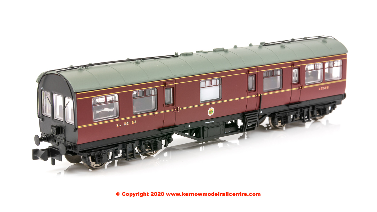374-875 Graham Farish LMS 50ft Inspection Saloon number 45028 in LMS Lined Crimson Lake livery