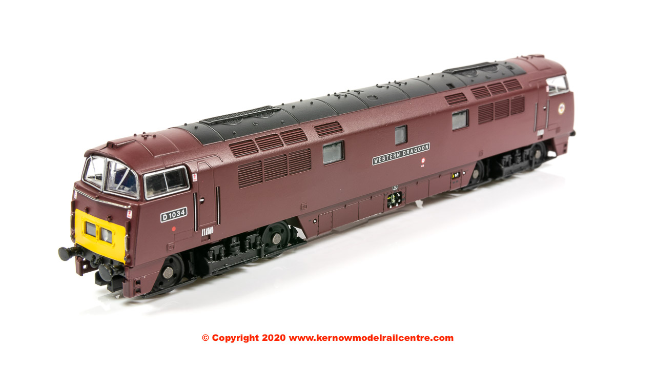 "2D-003-014 Dapol Class 52 Western Diesel Locomotive number D1034 named ""Western Dragoon"" in BR Maroon livery with small yellow panel"