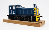 2070 Heljan Class 03 0-6-0 Diesel Locomotive Number 2096 in BR Blue/Wasps with Flowerpot Exhaust