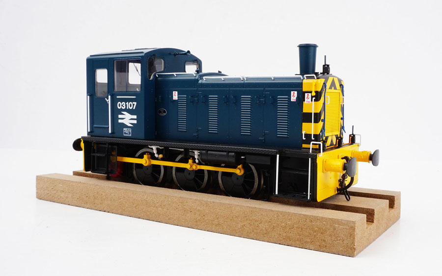 2071 Heljan Class 03 0-6-0 Diesel Locomotive Number 03107 in BR Blue/Wasps with Flowerpot Exhaust