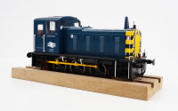 2073 Heljan Class 03 0-6-0 Diesel Locomotive Un-Numbered in BR Blue/Wasps with Conical Exhaust