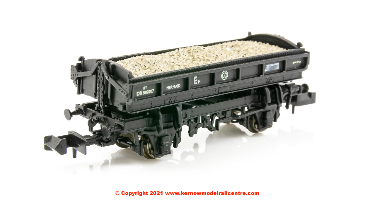 E87512 EFE Rail Mermaid 14 Ton Side Tipping Ballast Wagon number DB989207 in BR Black livery