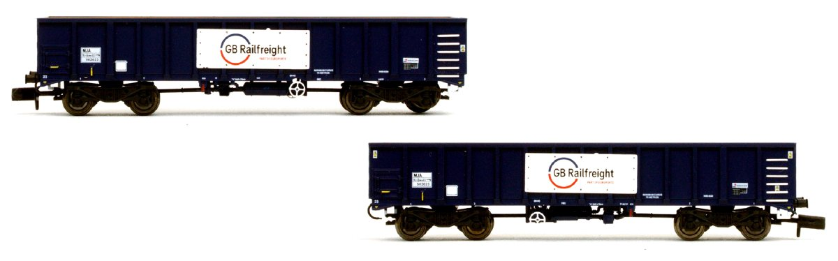 2F-025-005 Dapol MJA Bogie Box Van Twin Pack - 502023 and 502024 in GBRf livery
