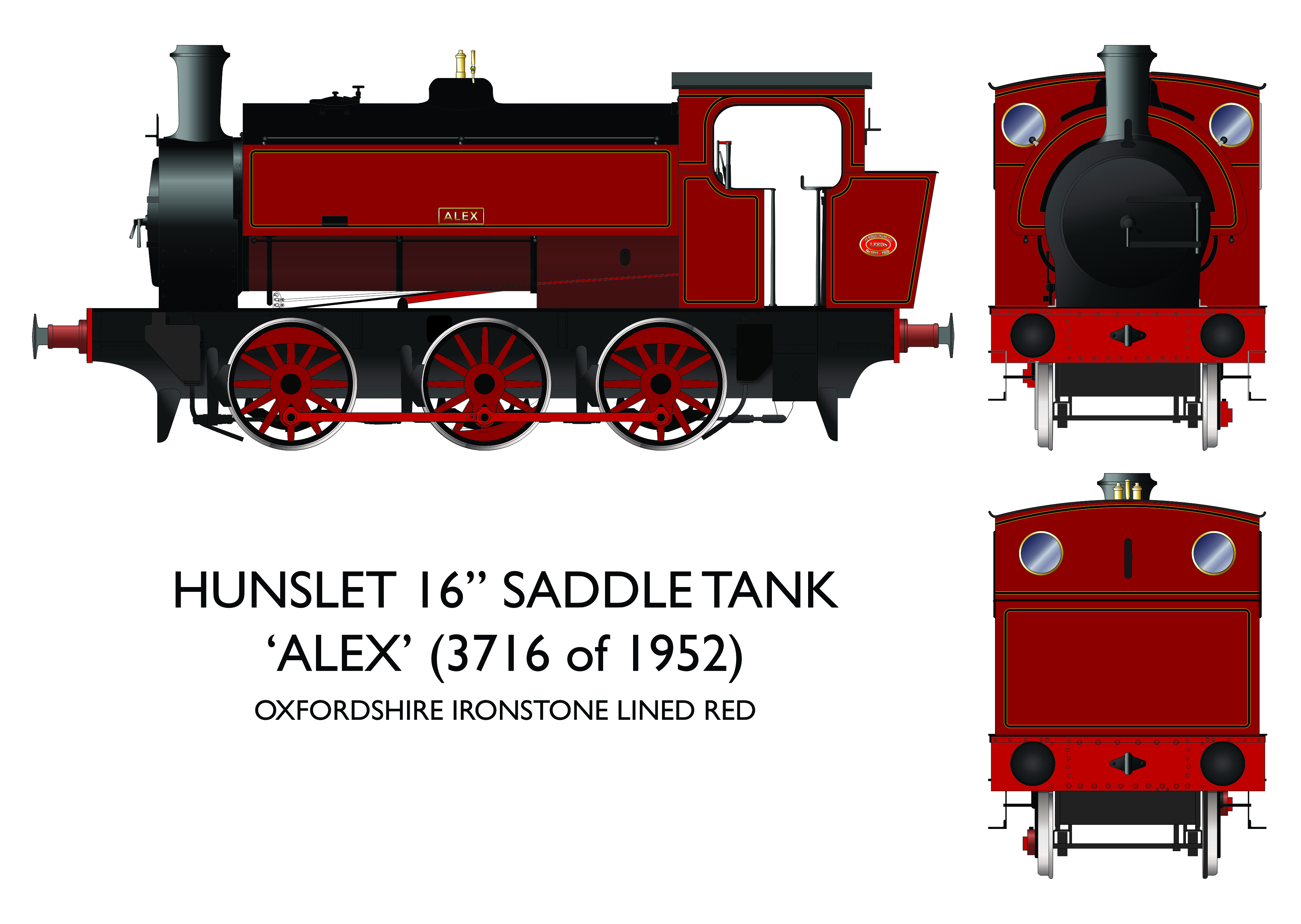 903001 Rapido 16in Hunslet Alex Oxfordshire Ironstone Lined Red