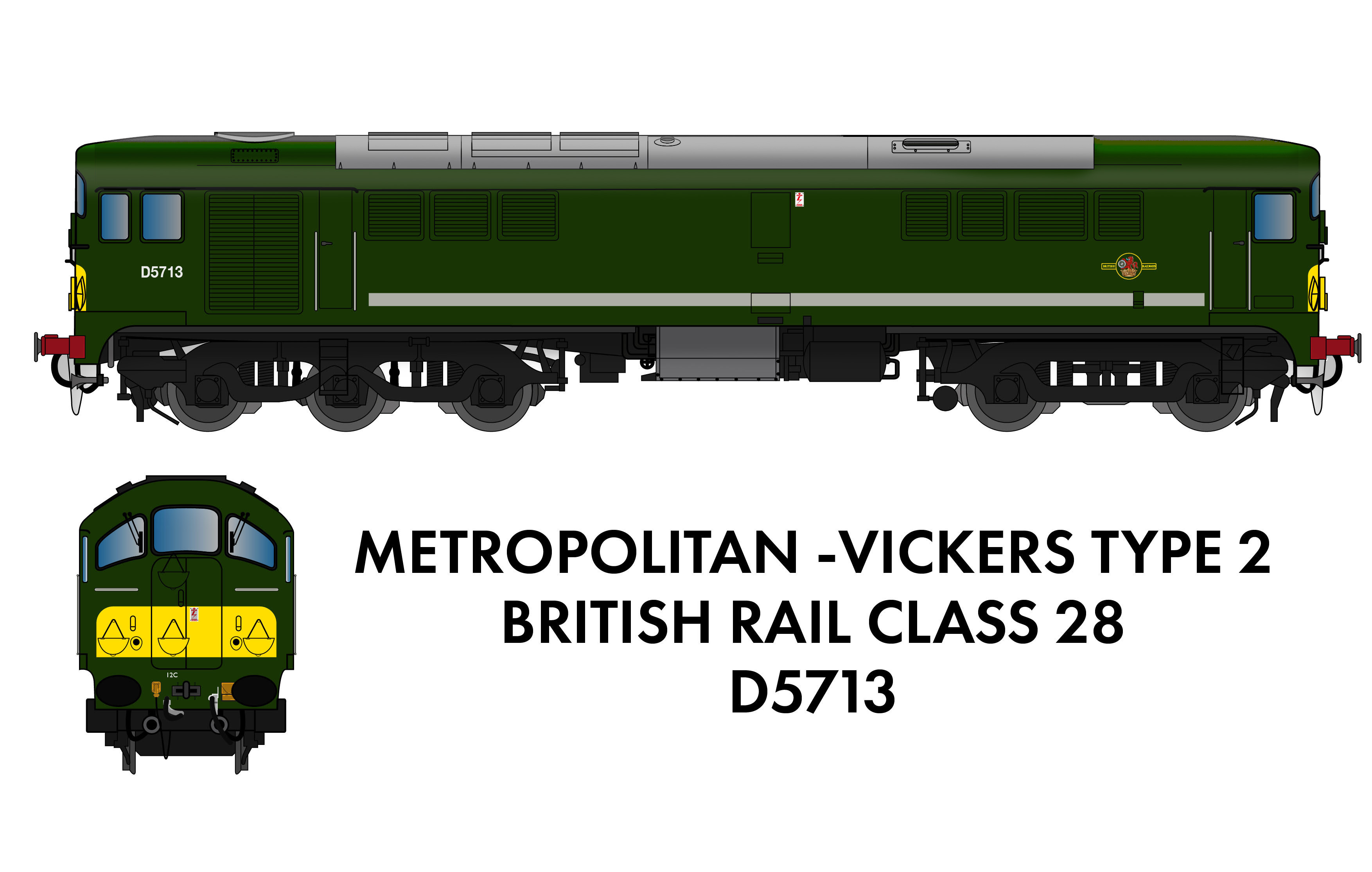 905503 Rapido Class 28 D5713 BR Green With Small Yellow Panel