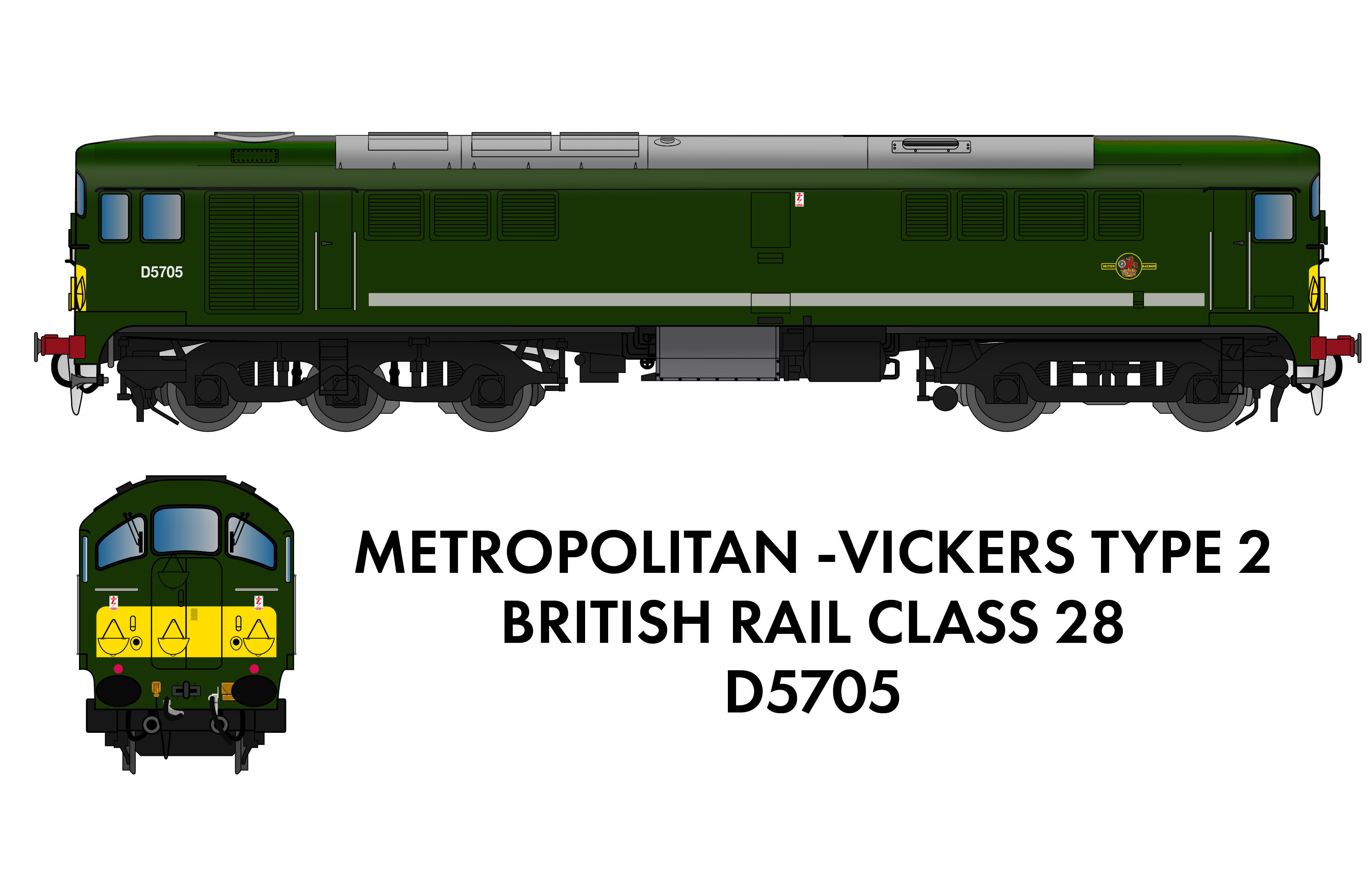 905005 Rapido Class 28 D5705 BR Green With Small Yellow Panel