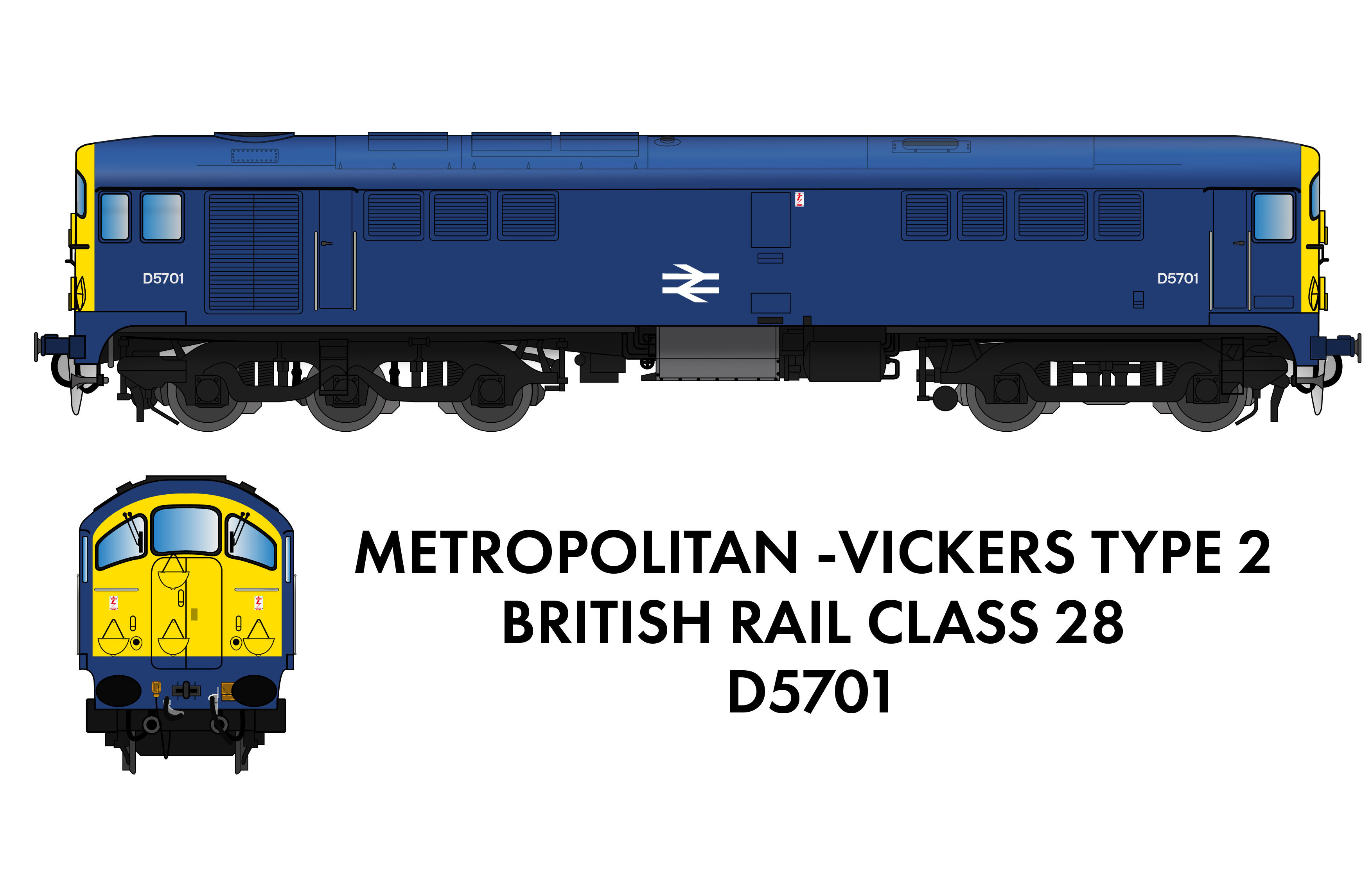 905006 Rapido Class 28 D5701 BR Blue With Full Yellow Ends