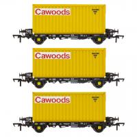 ACC2088CWDT Accurascale PFA - Container Wagon Triple Pack T - Cawood Container