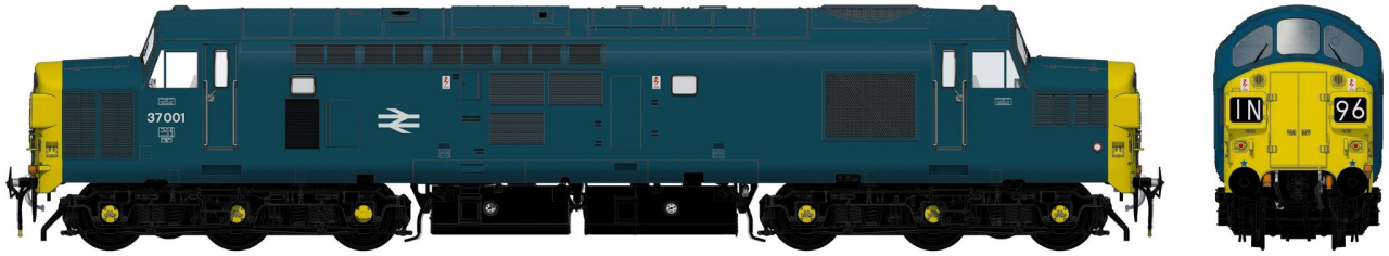 ACC230437001DCC Accurascale Class 37/0 Diesel Locomotive number 37 001 in BR Blue livery