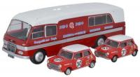 76BMC003 Oxford Diecast BMC Car Transporter and two minis