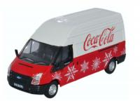76FT030CC Oxford Diecast Ford Transit Mk5 Van LWB High Roof - Coca Cola Christmas