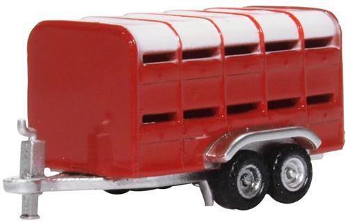 NFARM004 Oxford Diecast Livestock Trailer Red