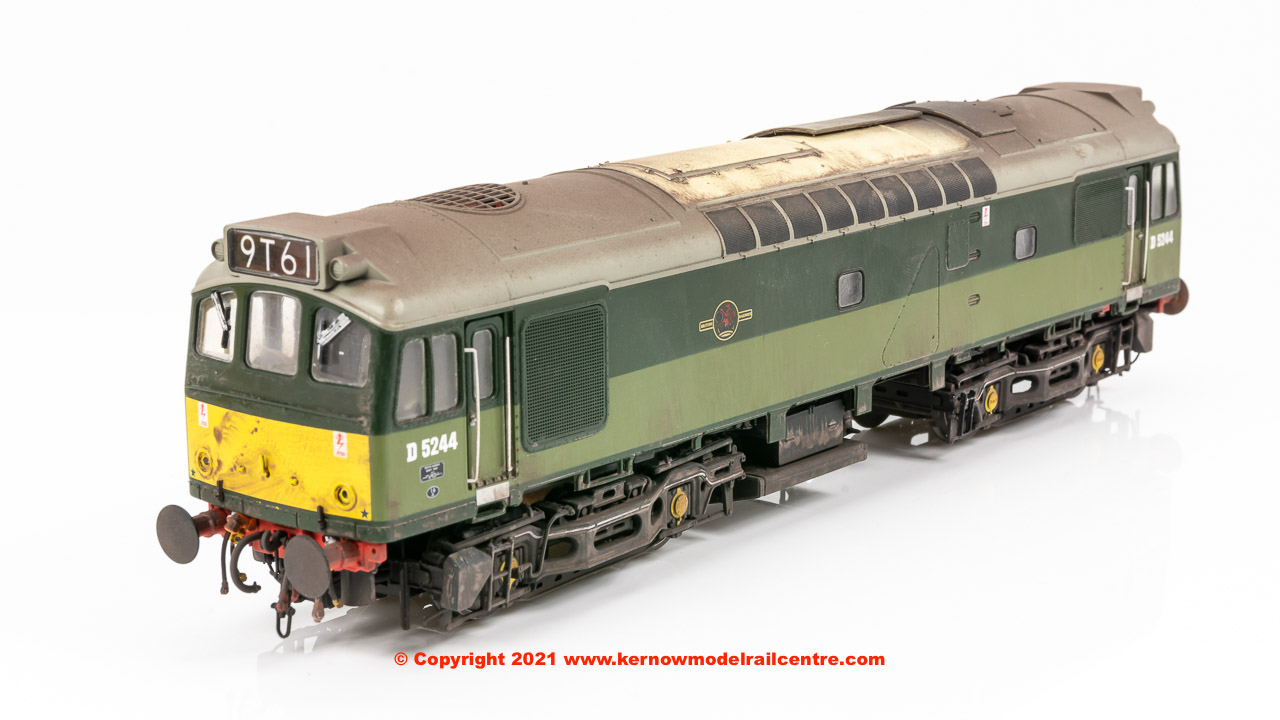 2531 Heljan Class 25/3 Diesel Locomotive number D5244 in BR Two Tone Green livery with small yellow warning panels and weathered finish