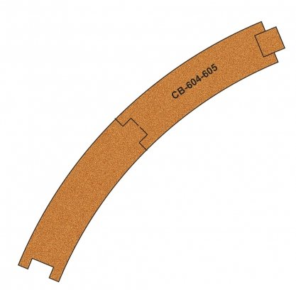 CB-604-5 Proses 10 X Pre-Cut Cork Bed for R604-605 R1 Curve Tracks