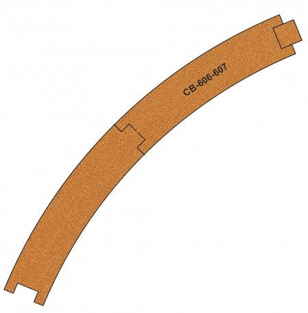CB-606-7 Proses 10 X Pre-Cut Cork Bed for R606-607 R2 Curve Tracks