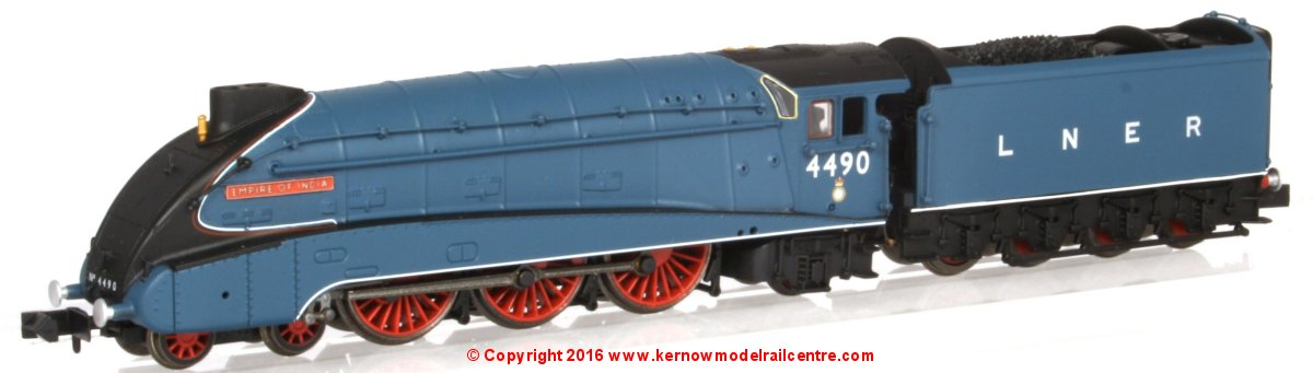 "2S-008-009 Dapol A4 Steam Locomotive number 4490 named ""Empire of India"" in LNER Garter Blue livery with valances"