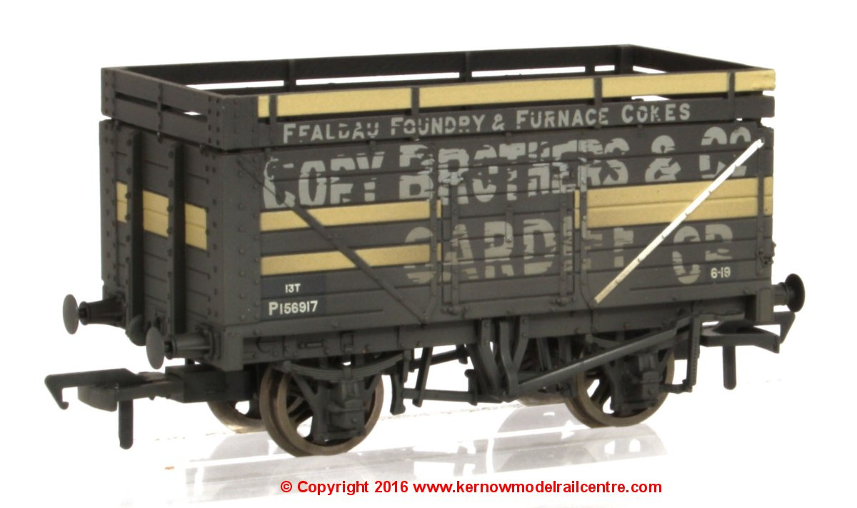 37-185A Bachmann 7 Plank Wagon number P156917 with Coke Rails - (BR) Cory with weathered finish