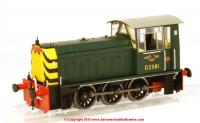 2502 Heljan Class 05 Diesel Shunter number D2581 in BR Green livery with wasp stripes