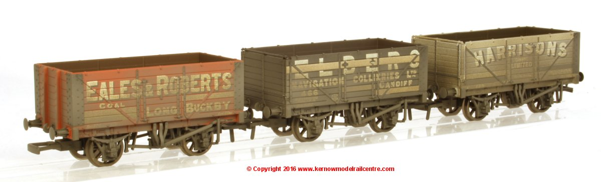 37-095A Bachmann Coal Trader Pack - 3 x 7 Plank Private Owner Wagons with Weathered finish