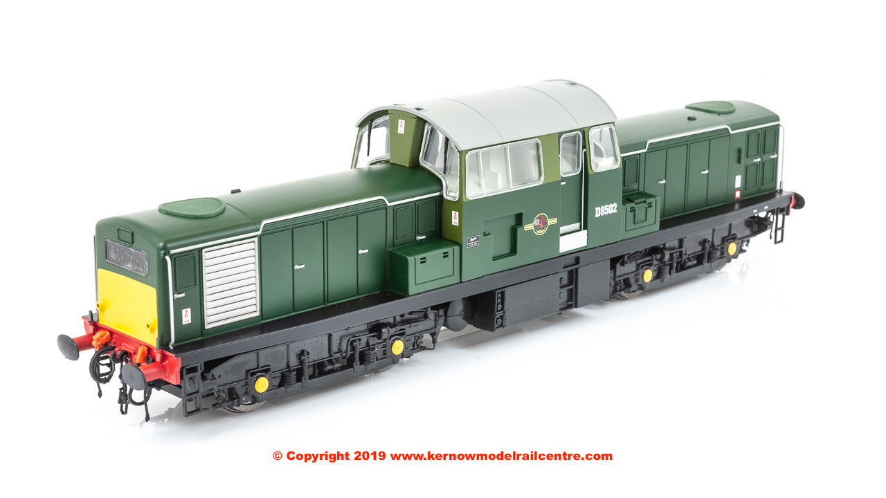 1721 Heljan Class 17 Locomotive Number D8502 In BR Green Livery With Wasp Stripes