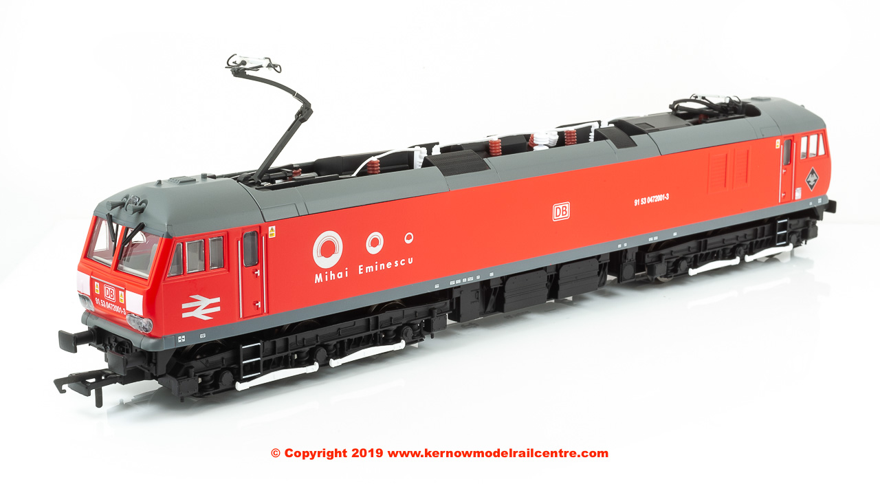 "R3742F Hornby Class 92 Co-Co Electric Locomotive number 91 53 0 472 001-3 named ""Mihai Eminescu"" in DB Cargo Romania livery"