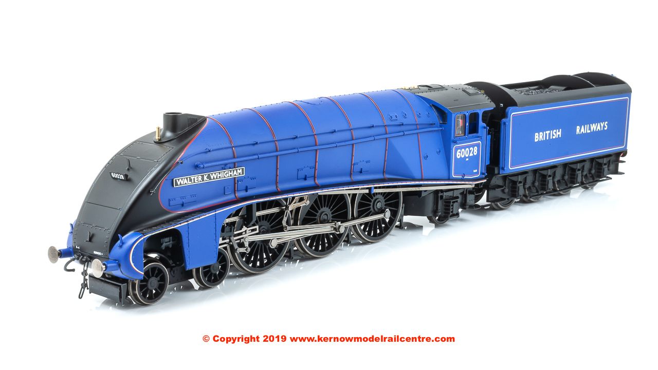 "R3701 Hornby A4 Class 4-6-2 Steam Locomotive number 60028 named ""Walter K Whigham"" in BR Blue livery with BRITISH RAILWAYS branding"