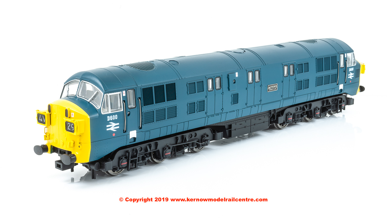 "K2600 Class 41 Warship Diesel Locomotive number D600 named ""Active"" in BR Blue livery with full yellow ends, headcode boxes and mesh grilles"