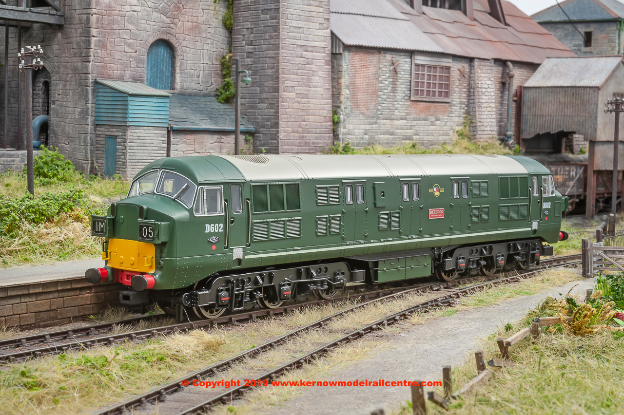 "K2602 Class 41 Warship Diesel Locomotive number D602 named ""Bulldog"" in BR Green livery with small yellow ends, headcode boxes and mesh grilles"
