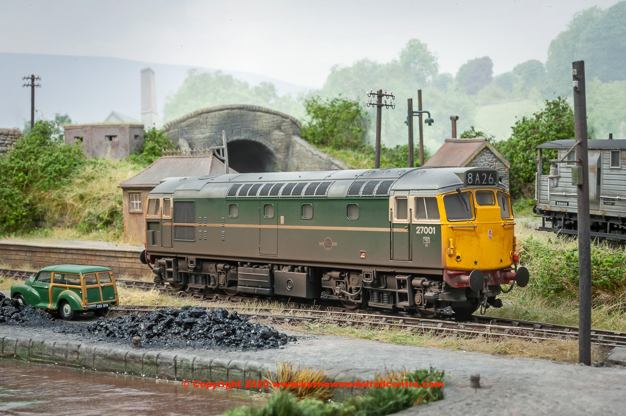 2730 Heljan Class 27 Locomotive Number 27 001 In BR Green Livery With Full Yellow Ends Weathered