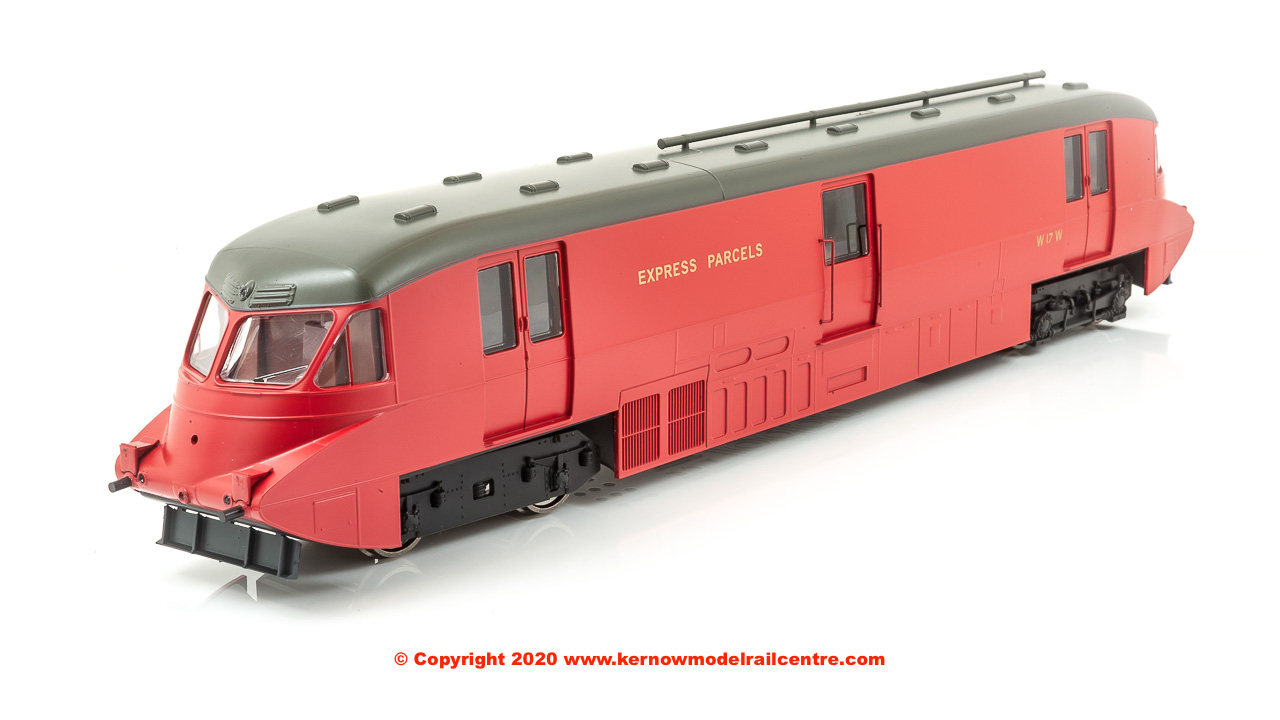 4D-011-101D Dapol Streamlined Railcar number 17 in BR Crimson livery with Express Parcels branding