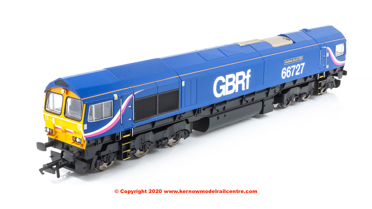 "R3881 Hornby Class 66 Co-Co Diesel Locomotive number 66 727 ""Andrew Scott CBE"" in GBRf livery"