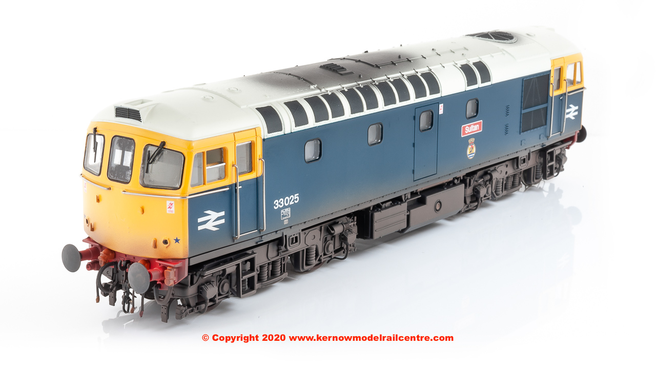 "GM4240102 Heljan Class 33/0 Diesel Locomotive number 33 025 named ""Sultan"" in BR Blue livery and lightly weathered"