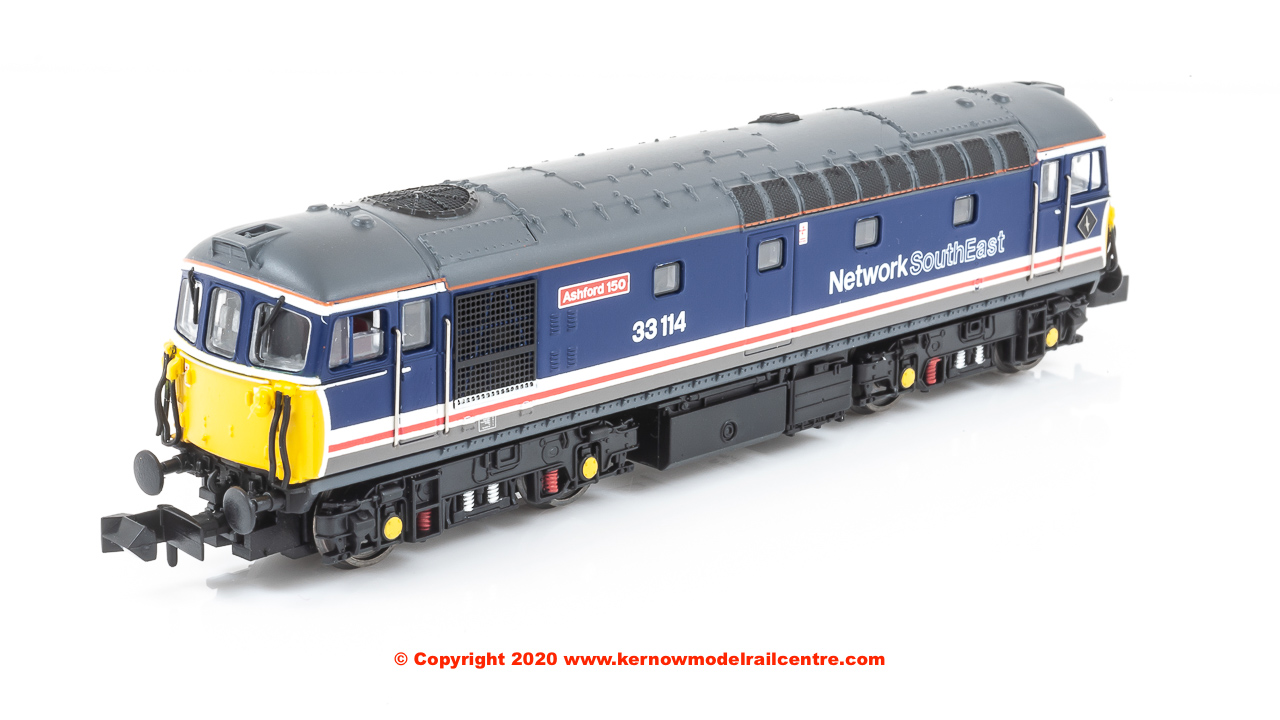 "2D-001-022D Dapol Class 33/1 Diesel Locomotive number 33 114 named ""Ashford 150"" in Network SouthEast livery"