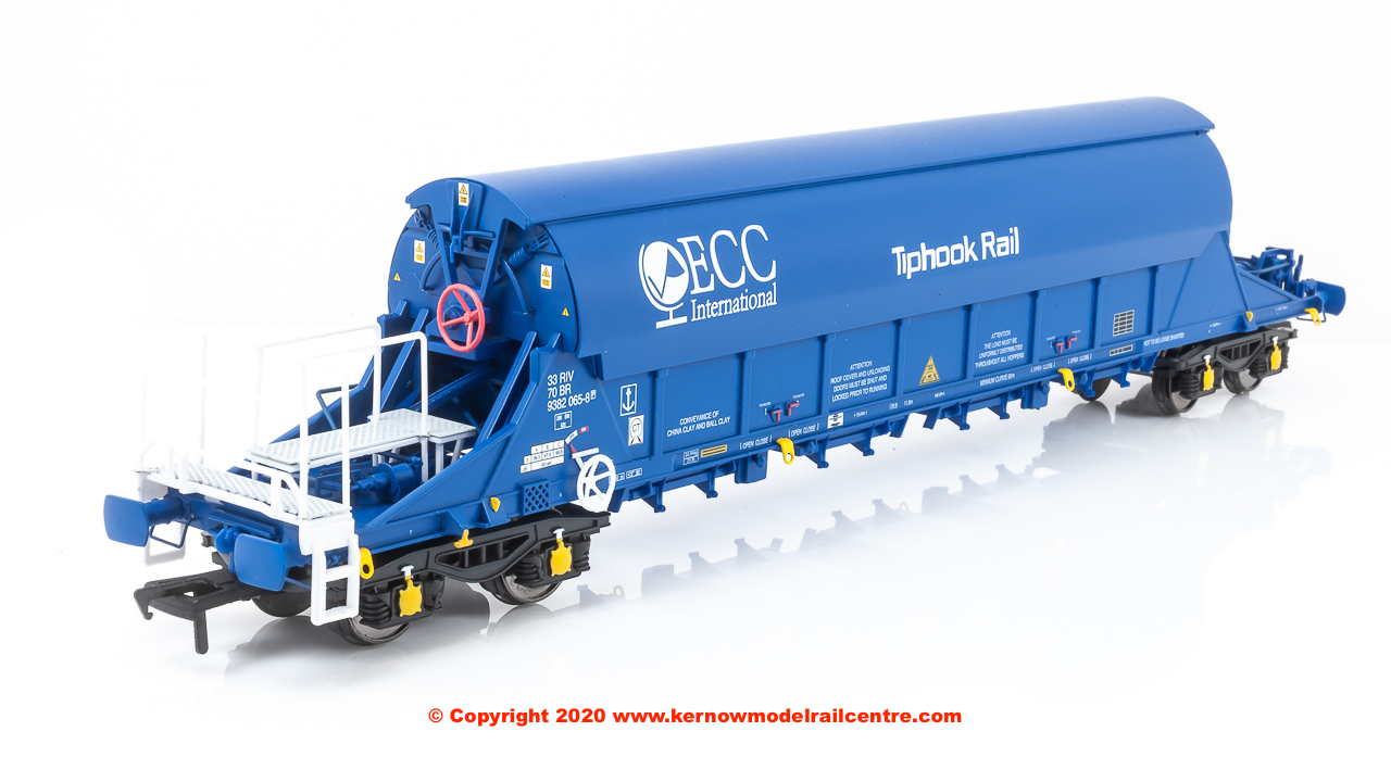SB002J JIA TIGER China Clay Wagon number 33 70 9382065-8 in ECC International Blue livery with Tiphook Rail branding and pristine finish.