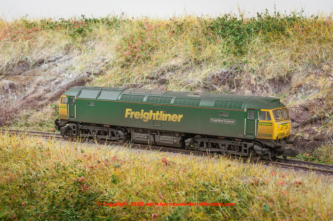 "371-651A Graham Farish Class 57/0 Diesel Locomotive number 57 008 named ""Freightliner Explorer"" in Freightliner livery with weathered finish"