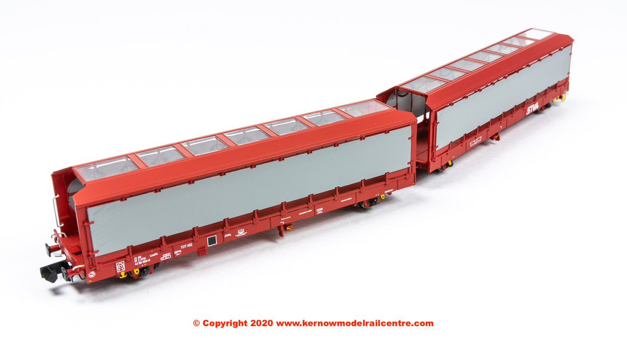 N-IPA-141A Revolution Trains IPA Single-deck Car Carrier Twin Set - Covered In STVA Red Livery