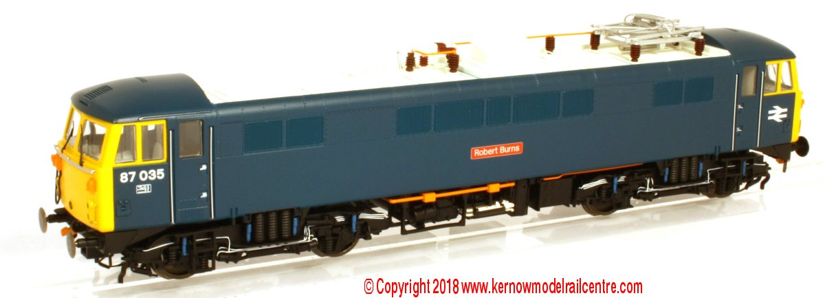 "R3580 Hornby Class 87 Electric Locomotive number 87 035 named ""Robert Burns"" in BR Blue livery"