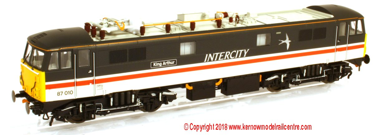 "R3582 Hornby Class 87 Electric Locomotive number 87 010 named ""King Arthur"" in Intercity Swallow livery"