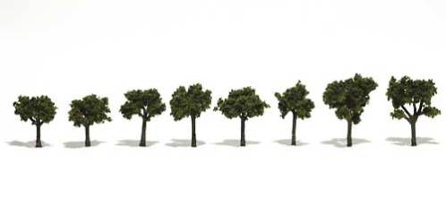 "TR1501 Woodland Scenics Realistic Trees Medium Green 3/4"" - 1 1/4"" Pack of 8"