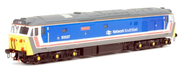 "2D-002-003S Dapol Class 50 Diesel Locomotive number 50 037 named ""Illustrious"" in Network SouthEast livery"