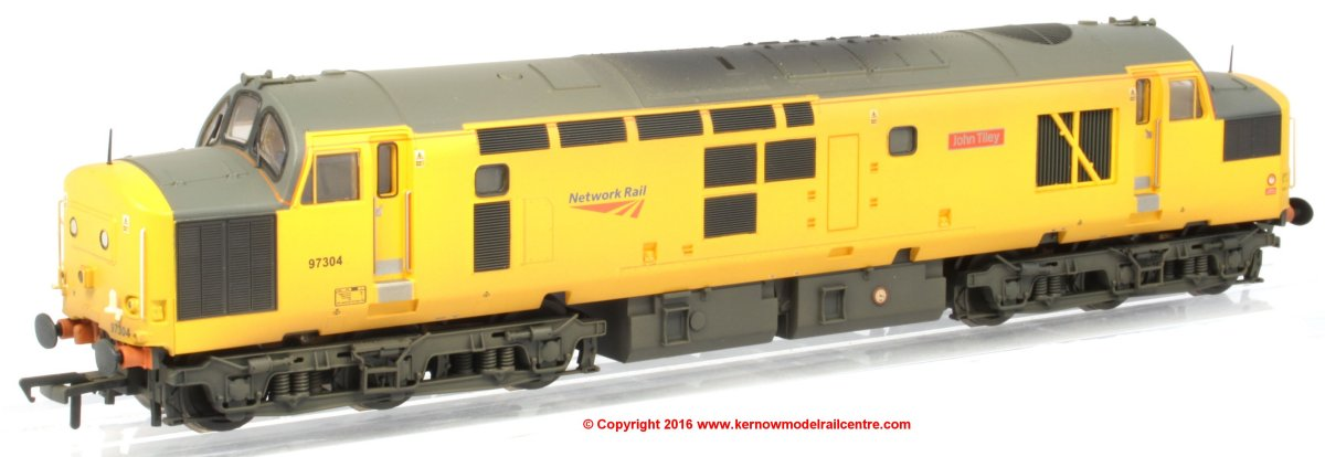 "32-777W Bachmann Class 37 Diesel Locomotive number 97 304 named ""John Tiley"" in Network Rail livery with weathered finish."