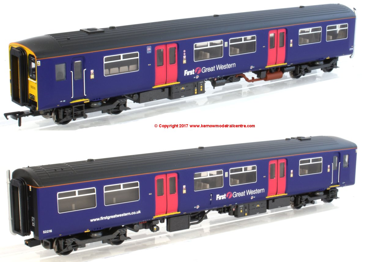 32-935X Bachmann Class 150/2 2 Car DMU number 150 216 in First Great Western Purple livery