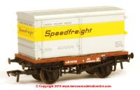 "37-990 Bachmann Conflat number B737725 in BR Bauxite livery with BA Standard Container ""Speedfreight"""