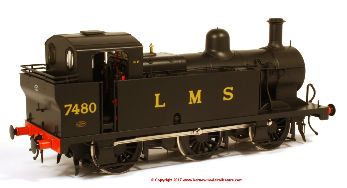 7S-026-007 Dapol Fowler 3F Jinty Steam Locomotive number 7480 in LMS Black livery with push pull equipment