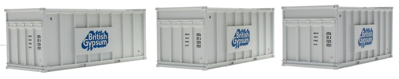 ACC2255GYPw Accurascale Gypsum 20ft Containers - Pack of 3 White