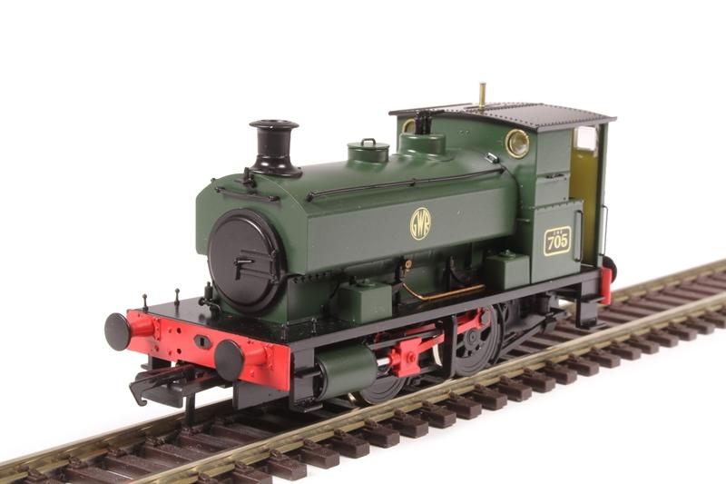 H4-AB14-002 Hattons Andrew Barclay 0-4-0ST Steam Locomotive number 705 in GWR Green livery with Shirtbutton roundel