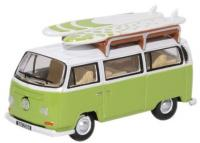 76VW028 Oxford Diecast VW Bay Window Bus/Surfboards Lime Green/White