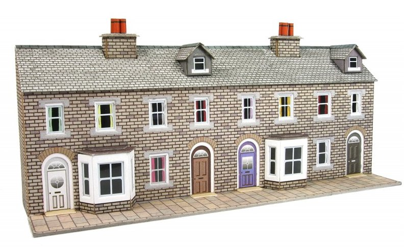 PN175 Metcalfe Low Relief Terraced House Fronts kit - Stone